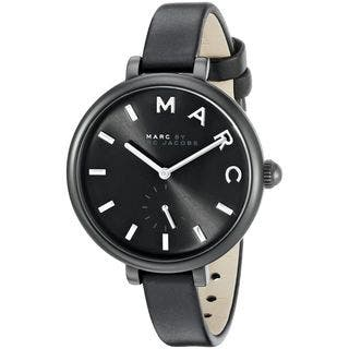 Marc Jacobs Women's MJ1417 'Sally' Black Leather Watch|https://ak1.ostkcdn.com/images/products/10736453/P17792792.jpg?impolicy=medium