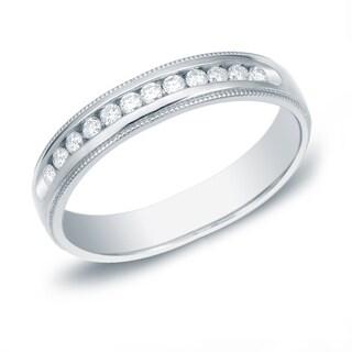 Auriya 14k Gold 1/4ct TDW Round-Cut Diamond Channel Set Wedding Band (H-I, SI1-SI2)