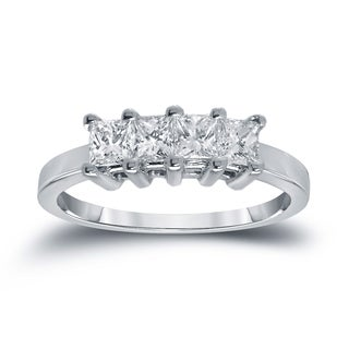 Auriya 14k White Gold 2/5ct TDW Princess-Cut Diamonds Wedding Band (H-I, SI1-SI2)