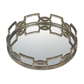 Sterling Iron Scroll 20-inch Mirrored Tray