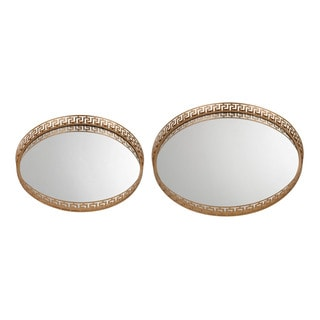 Sterling Mirrored Greek Key Tray (Set of 2)