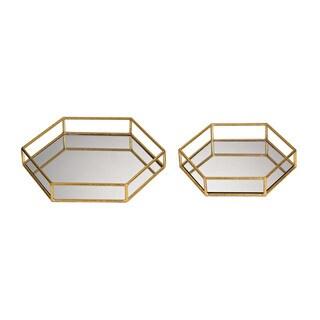 Sterling Set of 2 Mirrored Hexagonal Trays
