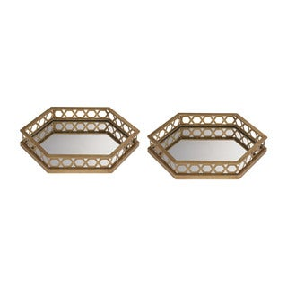 Sterling Ribbed Hexagonal Mirrored Trays (Set of 2)