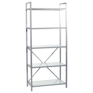Madrid 5 Shelf Storage - Aluminum/Frosted Glass