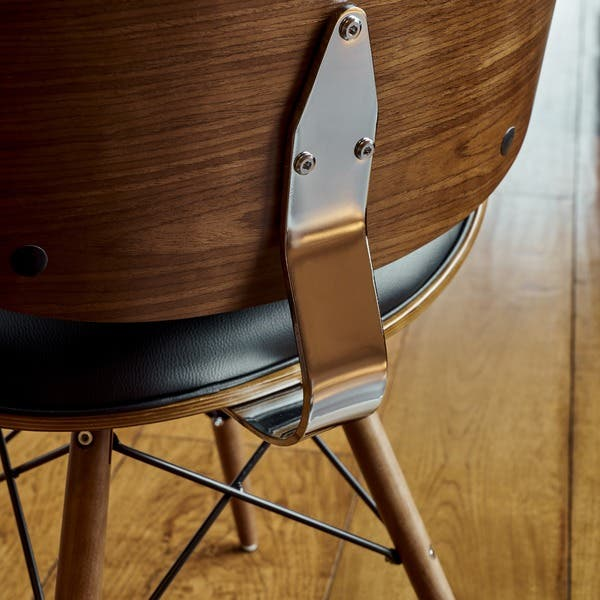 Terrific Shop Corvus Madonna Mid Century Walnut And Black Finish Short Links Chair Design For Home Short Linksinfo