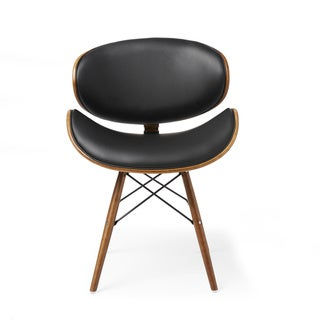 Corvus  Madonna Mid-Century Walnut and Black Finish Accent Chair