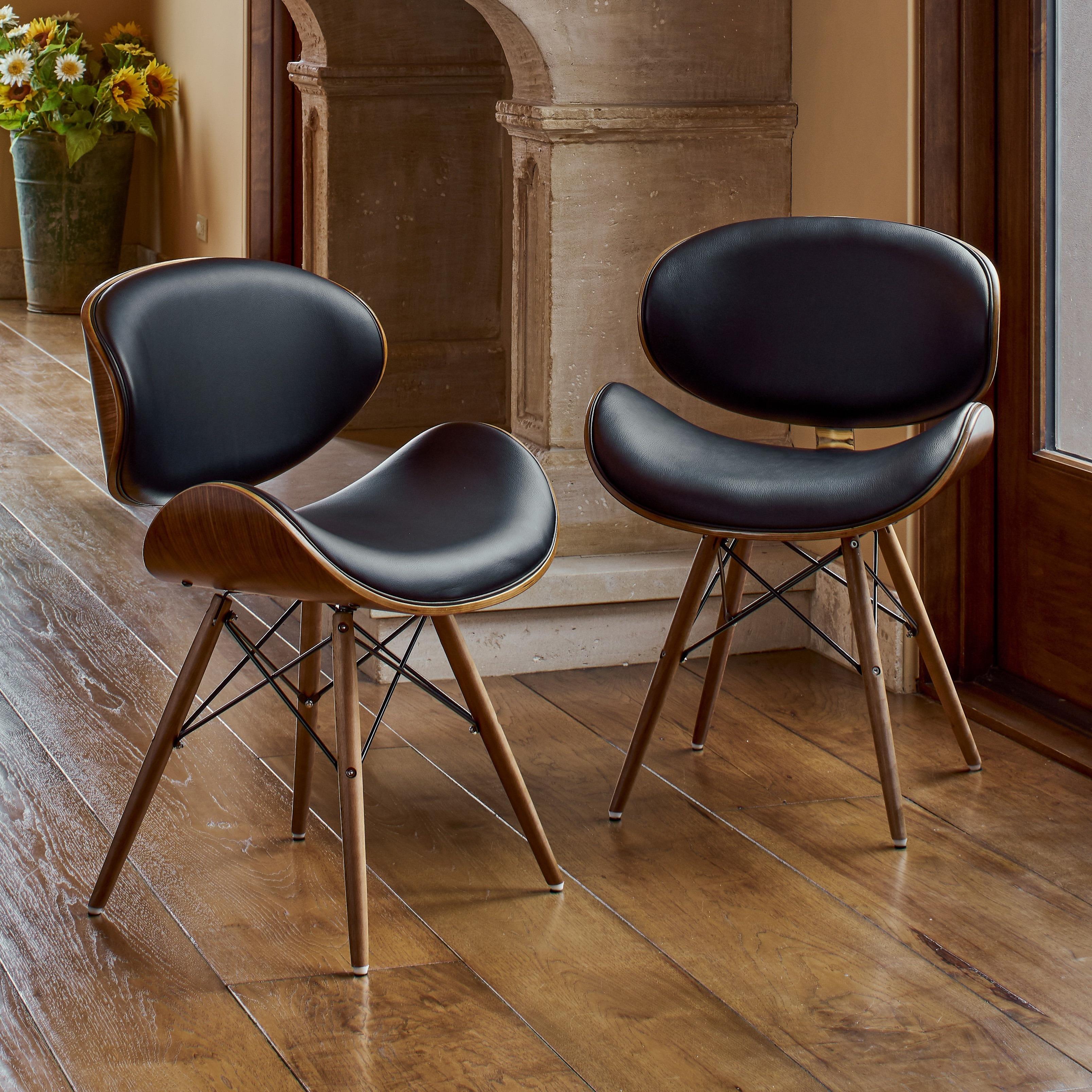 Corvus Madonna Mid Century Walnut And Black Finish Accent Chair
