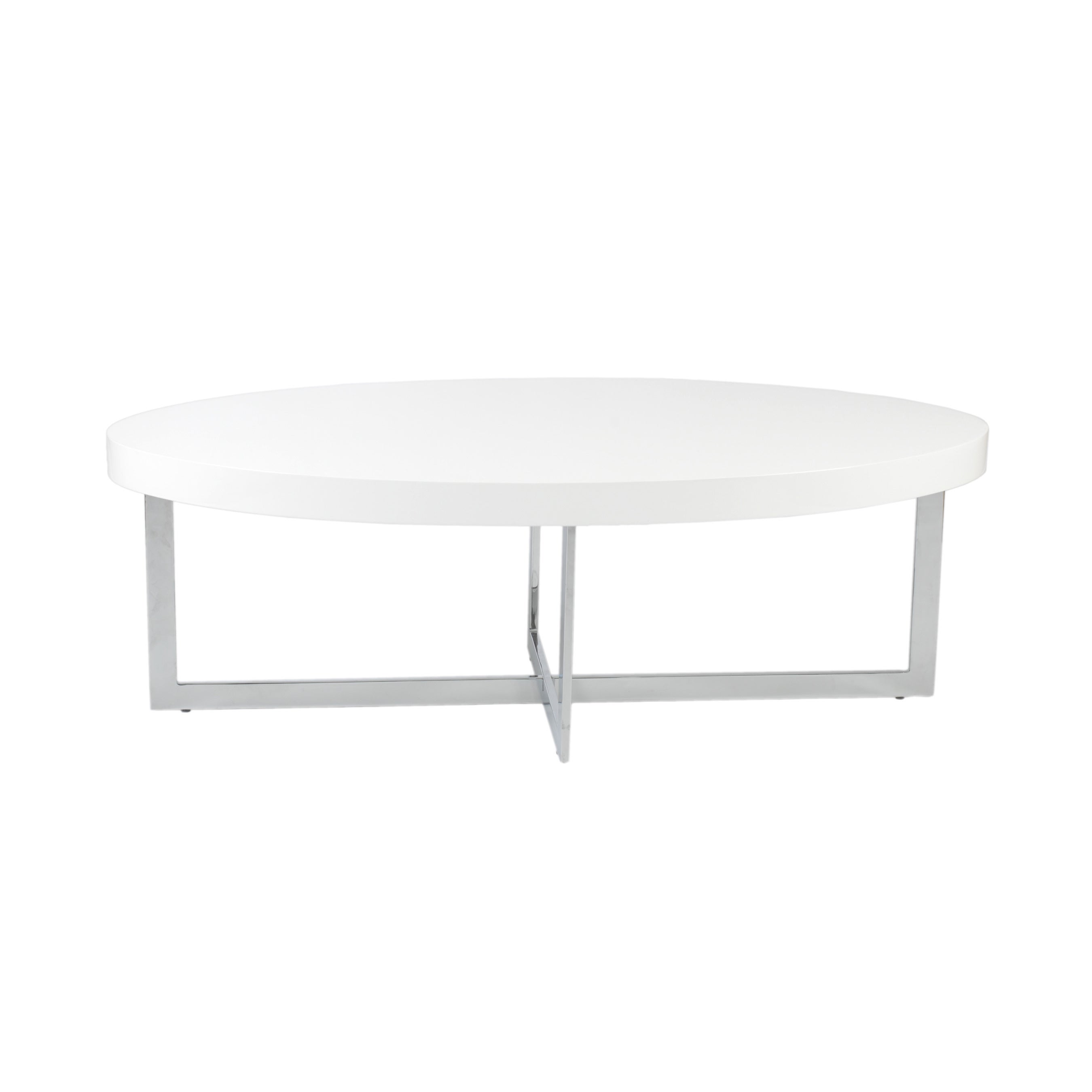 Euro Style Oliver Coffee Table White Lacquer/ Chrome (Whi...