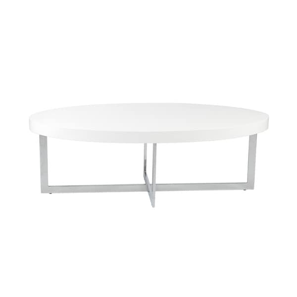 Oliver Coffee Table White Lacquer/ Chrome