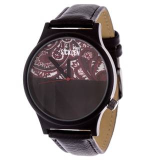 Van Sicklen Men's Black Swirl Dial / Black case and Leather Strap Watch