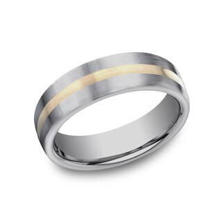 Men's 6mm Titanium Ring with 18k Yellow Gold Center (2 options available)