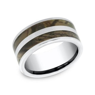 Men's 10mm Cobalt Ring with Two Camo Stripe Detail