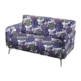 Emma Purple Flower Pattern Print Fabric Loveseat