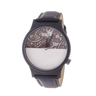 Van Sicklen Men's Grey Swirl Dial / Black case and Leather Strap Watch