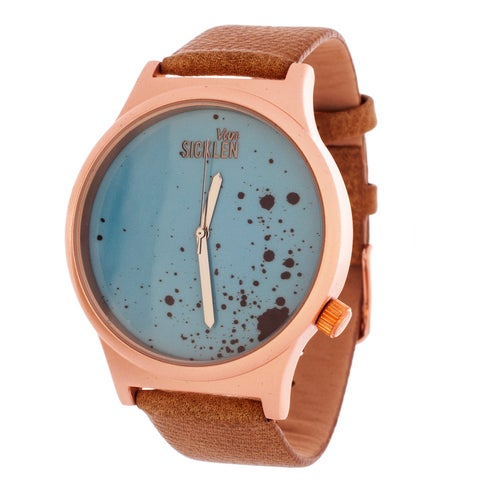 Van Sicklen Men's / Rose case with Light Brown Paint Dial and Leather Strap Watch