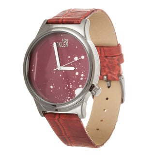 Van Sicklen Men's Red Paint Dial / Gun Metal case with Red Leather Strap Watch