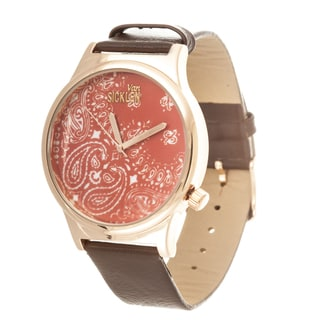 Van Sicklen Men's Paisley Dial / Rose case with Orange Leather Strap Watch