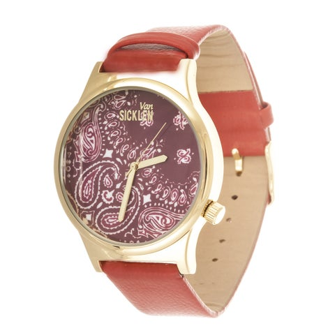 Van Sicklen Men's Paisley Dial / Gold Case with Red Leather Strap Watch