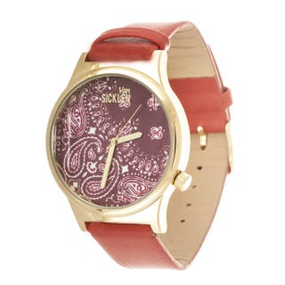 Van Sicklen Men's Paisley Dial / Gold Case with Red Leather Strap Watch|https://ak1.ostkcdn.com/images/products/10736735/P17793010.jpg?impolicy=medium