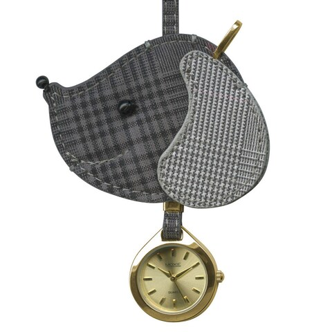 Dakota Women's Moxie Grey Plaid Dog Hanging Purse Charm Clock