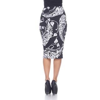 White Mark Women's 'Cynthia' Print Midi Skirt