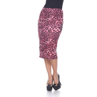 White Mark Women's 'Cynthia' Animal Print Midi Skirt