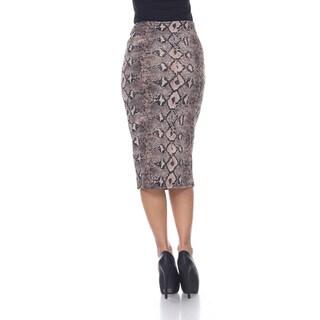 White Mark Women's 'Cynthia' Animal Print Midi Skirt