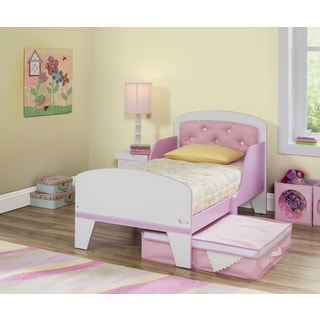 Jack and Jill Pink/ White Toddler Bed with Upholstered Headboard
