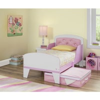 Jack And Jill Pink White Toddler Bed With Upholstered Headboard