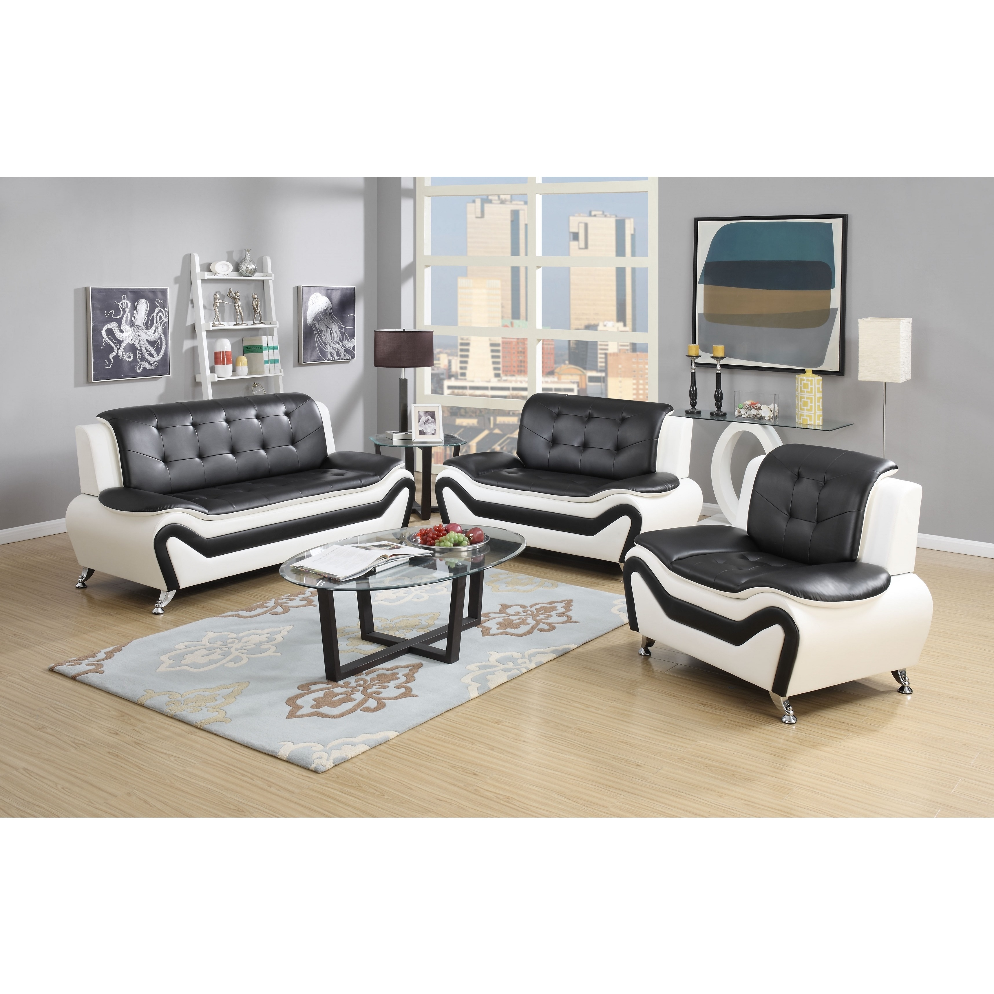 Wondrous Wanda 3 Piece Modern Bonded Leather Sofa Set Gamerscity Chair Design For Home Gamerscityorg