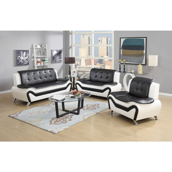 Wanda 3 Piece Modern Bonded Leather Sofa Set