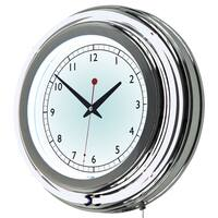 14 Inch Double Ring Neon Clock - Inner and Outer Ring White