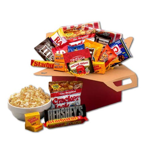 Gift Basket Drop Shipping Blockbuster Night Movie Care Package with 10.00 Redbox Gift Card