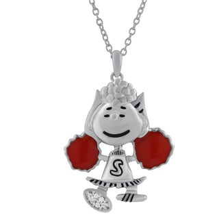 Sterling Silver Peanuts Sally Red Enamel Diamond Accent Pendant
