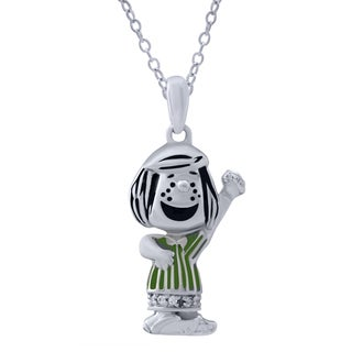 Peanuts Sterling Silver 0.025CTtw Diamond Accent Peppermint Patty Pendant (I-J, I2-I3)