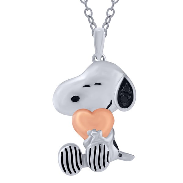 Sterling Silver Peanuts Black Diamond Accent Snoopy with Pink Heart Pendant