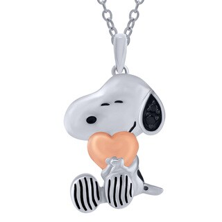 Bridal Symphony Sterling Silver Peanuts Snoopy Hugs Heart with Diamond Accent Pendant (I2-I3)