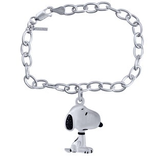 Bridal Symphony Sterling Silver Snoopy Diamond Accent Bracelet