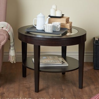 Tobaro Round Glass Top Cappuccino End Table