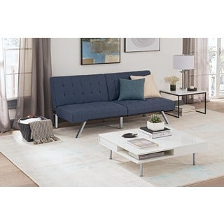 Avenue Greene Ella Blue Linen Futon