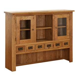 Vancouver Six-Drawer Two-Door Solid Oak Hutch