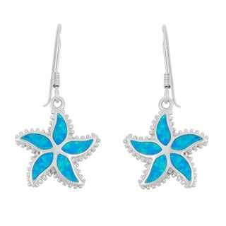 La Preciosa Sterling Silver Blue Opal Starfish Earrings