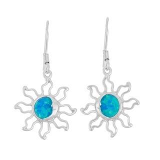 La Preciosa Sterling Silver Blue Opal Sun Dangle Earrings