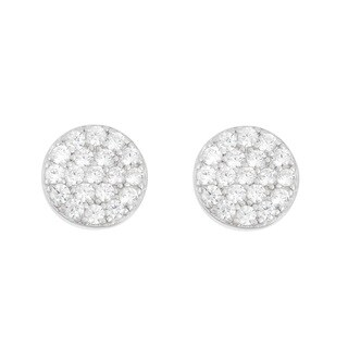 La Preciosa Sterling Silver CZ Flat Circle Stud Earrings