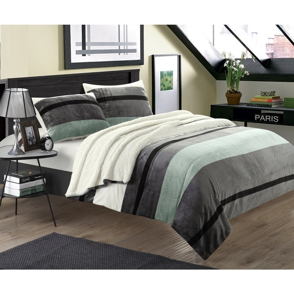 Chic Home Maryanne 3-piece Plush Microsuede Printed Stripe Sherpa Blanket with Pillow Shams