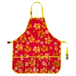 oGrow® High Quality 'Large' Gardeners Tool Apron With Adjustable Neck And Waist Belts - Raspberry Floral