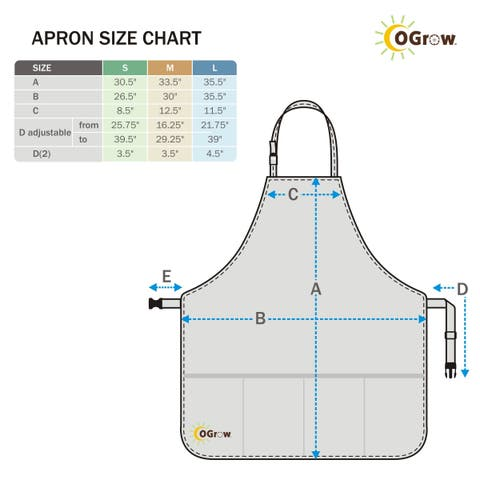 oGrow® High Quality 'Large' Gardeners Tool Apron With Adjustable Neck And Waist Belts - Blue/White Striped