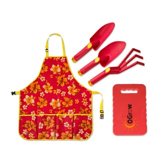 oGrow Complete Gardening Kit with 3-piece Tool Set, Apron and Kneeling Pad
