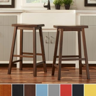 TRIBECCA HOME Salvador Saddle Back 29-inch Bar Height Stool (Set of 2) in Black Sand(As Is Item)