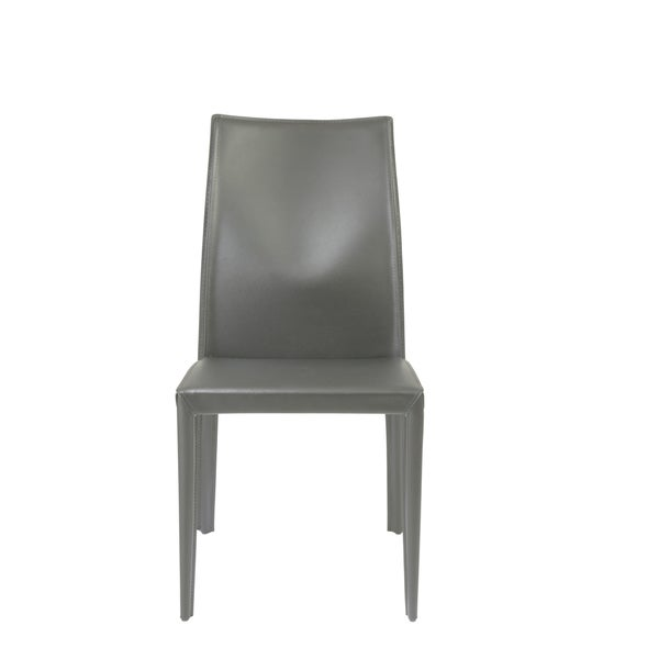 Dafney Grey Leather Dining Chairs (Set of 2)